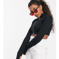 COLLUSION zip through long sleeve top in black-Multi