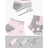 DKNY Alycia 3 pack trainer socks in grey and pink