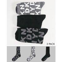 DKNY Aria 3 pack socks in logo print-Black