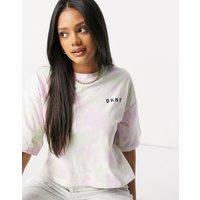DKNY boxy logo tshirt in tie dye print-Multi