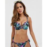 Freya Fuller Bust underwired bandeau bikini top in jungle floral print-Multi