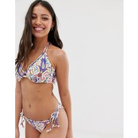 Freya indio paisley rio tie side bikini bottom in white multi