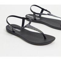 Ipanema pop glitter flat sandals in black