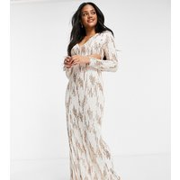 Jaded Rose exclusive sequin plunge maxi dress in cream and rose gold