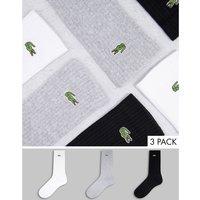 Lacoste 3 pack socks in black/ white/ grey-Multi