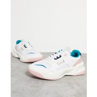 Lacoste Ace Lift chunky overlay trainers in white and pastel mix