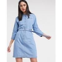 Lacoste belted denim dress in blue