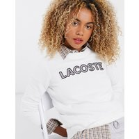 Lacoste check logo front sweatshirt in cream