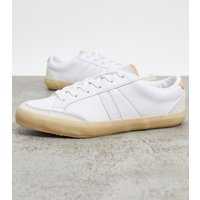 Lacoste Coupole suede panel trainers in white and natural
