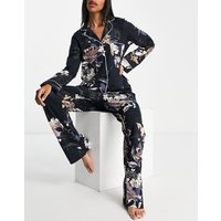 Lindex eco viscose jersey revere pyjama set in navy floral print-Blue