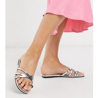 London Rebel wide fit toe loop strappy mule sandals in silver-Multi