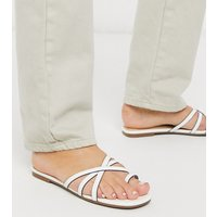 London Rebel wide fit toe loop strappy mule sandals in white