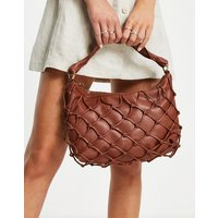 Mango faux leather shoulder bag with woven detail in burgundy-Red