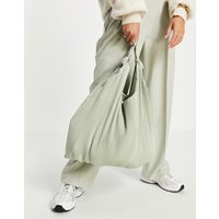Mango plisse shoulder shopper bag in sage green