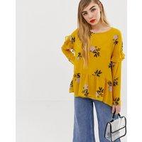 mByM floral ruffle shoulder top-Multi