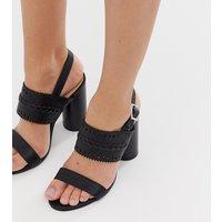Miss Selfridge two strap heeled sandals in black