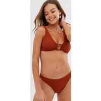 New Look textured ring detail bikini top in copper