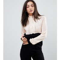 Noisy May Tall contrast cable knit jumper in black and cream-White