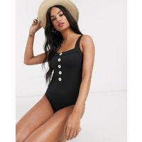 & Other Stories button detail swimsuit in black