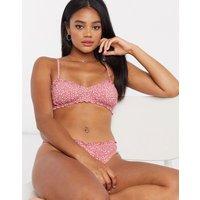 & Other Stories dotty print frill edge bikini bra in pink-Multi