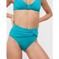 & Other Stories gather detail high waist bikini briefs in turquoise-Blue