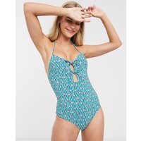& Other Stories printed tie-detail halterneck swimsuit in multi-Blue