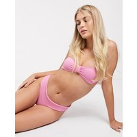 & Other Stories ribbed knot-front bandeau bikini top in pink