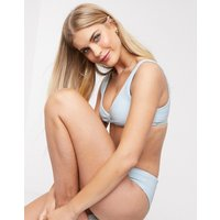 & Other Stories ribbed knot-front triangle bikini top in lilac blue