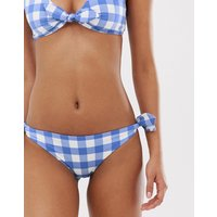 & Other Stories tie bikini briefs in blue gingham
