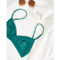 & Other Stories triangle thin-strap bikini top in green