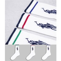 Polo Ralph Lauren 3 pack sport socks in white with stripe and large pony logo