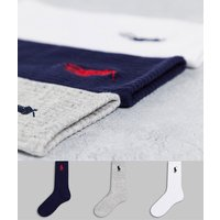 Polo Ralph Lauren 3 pack sports socks in grey/white/navy with large pony logo-Multi