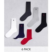 Polo Ralph Lauren 6 pack sport socks in black, red, navy, grey, white with pony logo-Multi