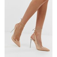 Public Desire Clarity blush clear heel ankle tie court shoes-Beige
