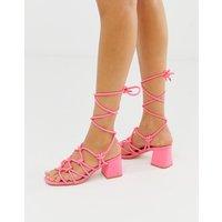 Public Desire Freya bright pink ankle tie mid heeled sandals