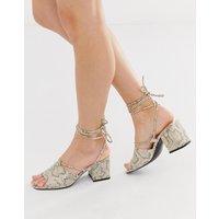 Public Desire Heidi snake print ankle tie mid heeled sandals-Beige