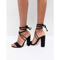 Public Desire Suzu Black Tie Up Block Heeled Sandals
