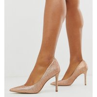 Sam Edelman heeled court shoes in rose gold-Copper