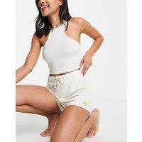 Stradivarius Smile pyjama short in ecru-White