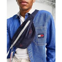 Tommy Jeans cord bum bag in navy with all over print logo