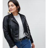 Vero Moda Curve Faux Leather Biker Jacket-Black