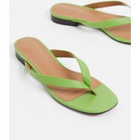 What What Wear Cali toe thong flat sandals in green leather