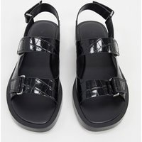 Who What Wear Axel flatform sandals in black croc