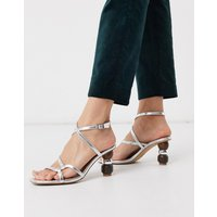 Who What Wear Ryleigh strappy sandals with heel interest in silver
