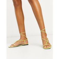 Who What Wear Zander strappy square toe sandals in lime-Green