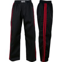 Blitz Adult Classic Polycotton Full Contact Trousers - Black / Red - 3/160cm