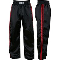 Blitz Adult Classic Satin Full Contact Trousers - Black / Red - 3/160cm