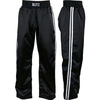 Blitz Adult Classic Satin Full Contact Trousers - Black / White - 3/160cm