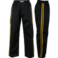 Blitz Adult Classic Polycotton Full Contact Trousers - Black / Yellow - 3/160cm