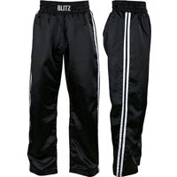 Blitz Adult Classic Satin Full Contact Trousers - Black / White - 7/200cm
